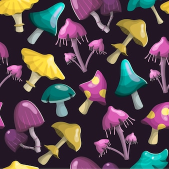 Magic fairy mushrooms of different shapes and colors. background decoration.