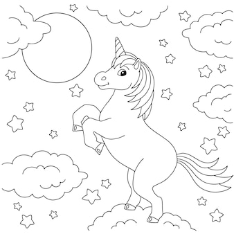 Magic fairy unicorn coloring book page for kids