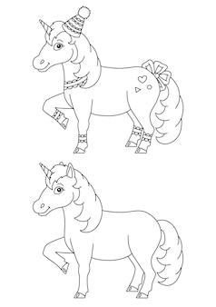 Magic fairy unicorn cute horse coloring book page for kids