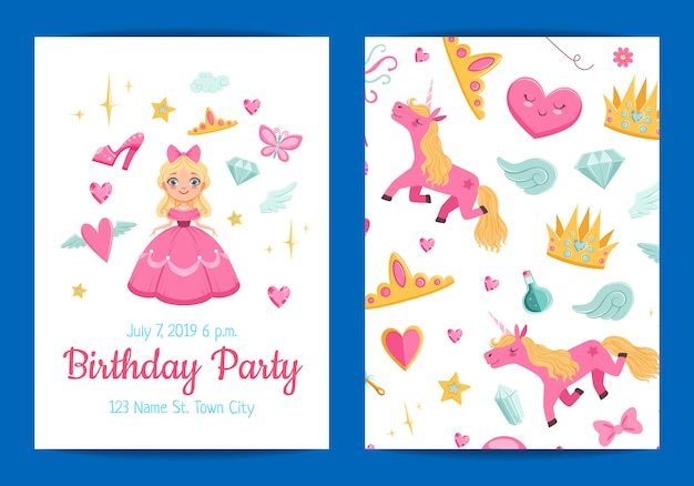 Magic and fairytale birthday party invitation