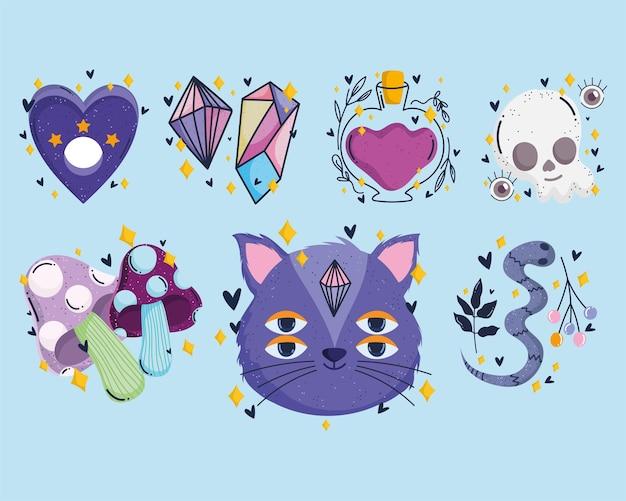 마법의 동화 클립 아트 고양이 두개골 물약 뱀과 버섯