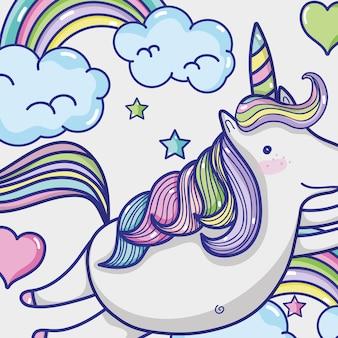 Magic and fantastic unicorn cute cartoon