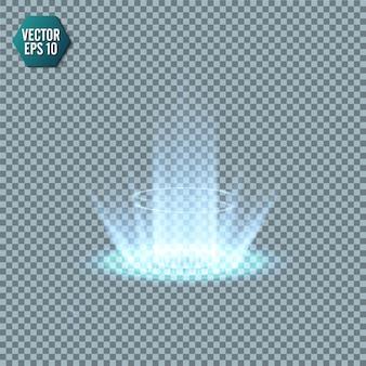 魔法のファンタジーポータル。未来のテレポート。光の効果。透明な背景に火花を散らす夜景の青いろうそくの光線。表彰台の空の光の効果。ディスコクラブのダンスフロア。