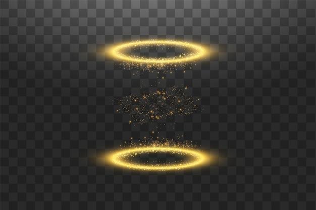 Волшебный фэнтезийный портал. футуристический телепорт. световой эффект. золотые свечи лучи ночной сцены с искрами на прозрачном фоне. пустой световой эффект подиума. диско клуб танцпол. вектор