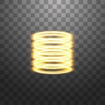 魔法のファンタジーポータル。未来的なテレポート。光の効果。透明の火花と夜のシーンの黄金のキャンドル光線。表彰台の空の光の効果。