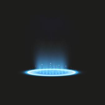 魔法のファンタジーポータル。未来的なテレポート。光の効果。