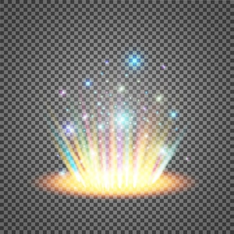 魔法のファンタジーポータル。未来のテレポート。光の効果。