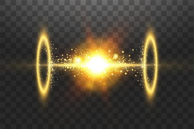 魔法のファンタジーポータル。光の効果。透明な背景に火花を散らします。