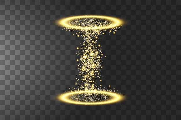 Волшебный фэнтезийный портал. световой эффект. искры на прозрачном фоне.