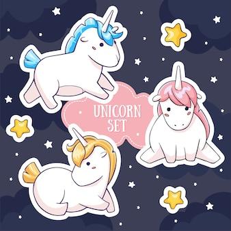 Magic fat unicorn characters set