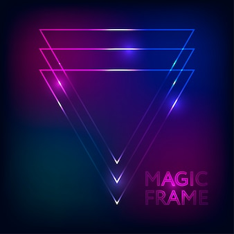 Magic frame gradient vector abstract lights lines text design frame dark background