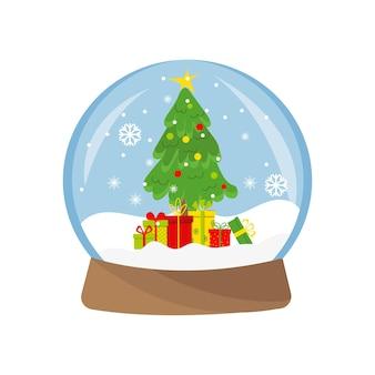 クリスマスツリーの贈り物と魔法のガラスのスノードーム