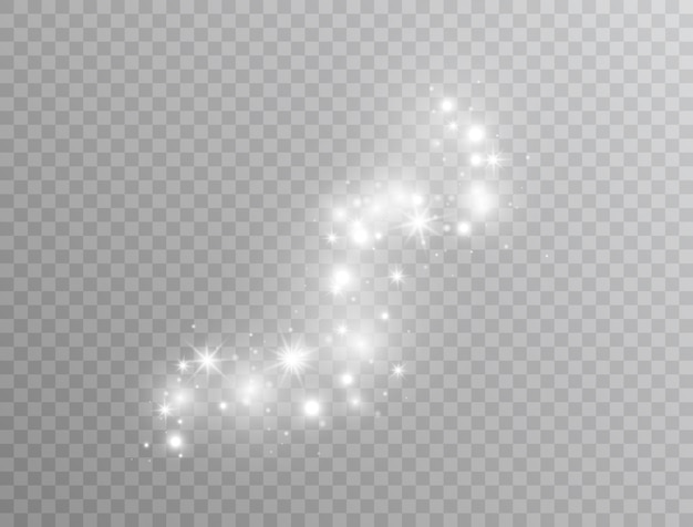 Magic glitter dust particles. white glowing light effect isolated. star burst with sparkles. shining flare.vector illustration