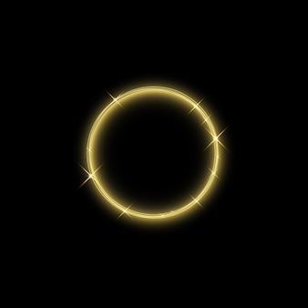 魔法のゴールドサークルライト効果。背景に分離された図。