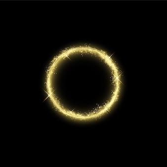 Волшебный золотой круг световой эффект. изолированная иллюстрация