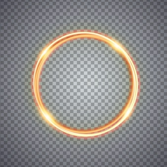 Magic gold circle light effect. illustration isolated