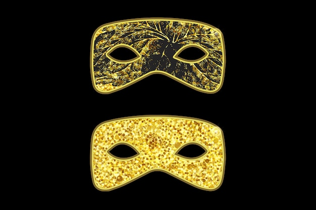 Magic gold mask with black floral pattern