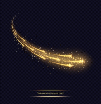 Magic golden stars light effect isolated. luminescent meteors with bright bokeh and sparkles. vector illustration.