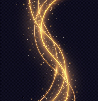 Magic golden wave light effect isolated. luminescent lines with bright bokeh and sparkles. vector illustration.