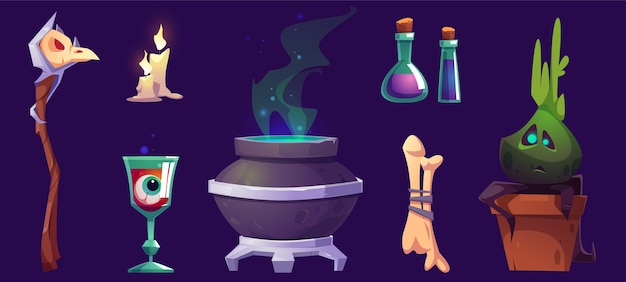 Magic or halloween stuff witch cauldron, staff with bird skull, burning candles, eyeball in goblet, potion in beakers, bones and potted plant, pc game items isolated cartoon illustration, icons set