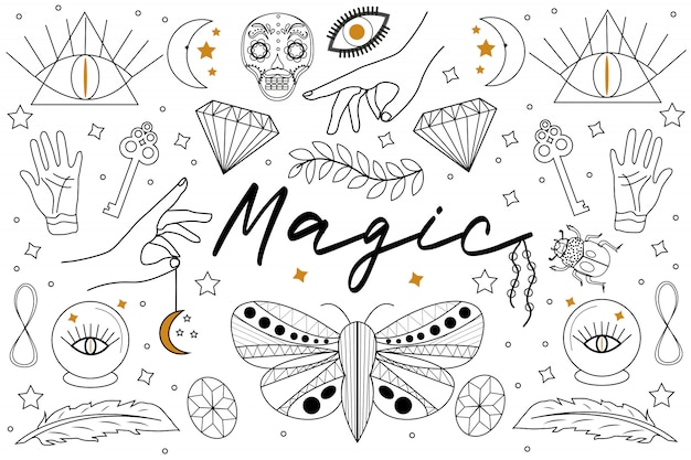 Magic hand drawn, doodle, sketch line style set. witchcraft symbols.ethnic esoteric collection with hands, moon, crystals, plant, eye, palmistry and other magical elements.  illustration
