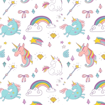 The magic hand drawn pattern with unicorn, rainbow