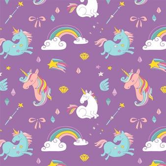 The magic hand drawn pattern with unicorn