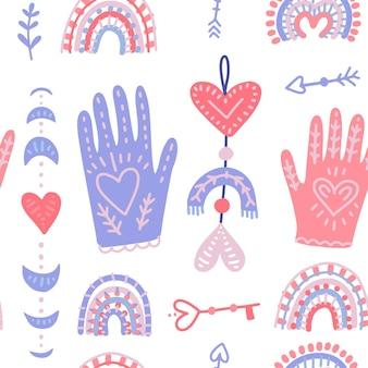 마법의 손과 사랑의 달의 위상. 발렌타인 데이 대 한 손으로 그려진 된 평면 원활한 패턴