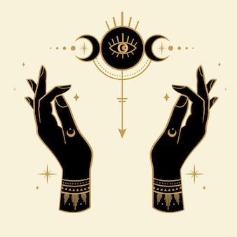 難解なシンボルと月の魔法の手