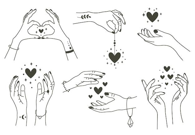 Волшебные руки с сердечками, изолированные на белом фоне Premium векторы