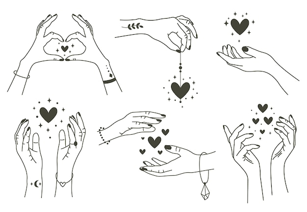 Magic hands with hearts isolated on white