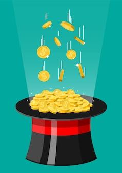 마술 모자와 금화. 돈으로 가득 찬 환상 주의자 모자. 달러 기호 황금 동전입니다. 성장, 소득, 저축, 투자. 부의 상징. 비즈니스 성공.