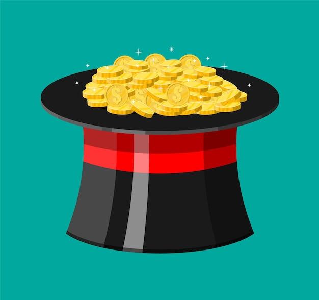 Волшебная шляпа и золотые монеты, изолированные на бирюзовом фоне