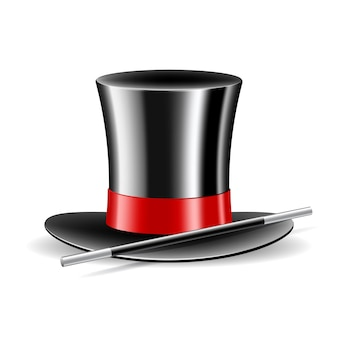 마술 모자와 마술 지팡이 흰색 절연