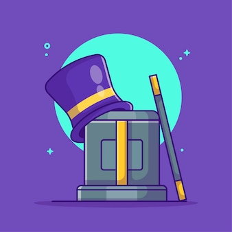 Magic hat and magic box with magic wand cartoon