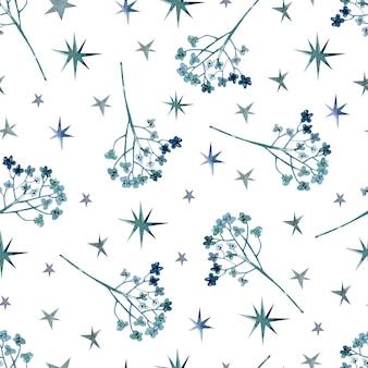 Волшебные травы для колдовства акварель бесшовный фон