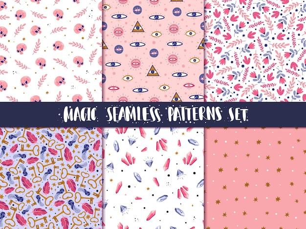 Magic icons doodles seamless patterns set