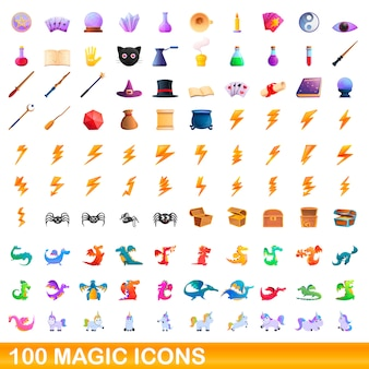 Magic icons set, cartoon style