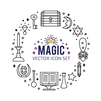 Magic icons set. sparkle magic lights. mystery miracle