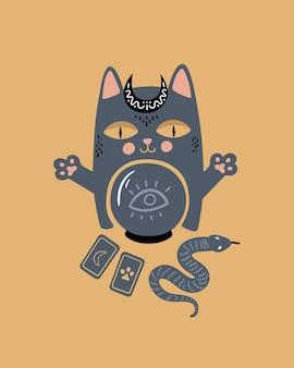魔法のイラスト猫は占い師で、タロットカードに囲まれた水晶玉と一緒に座っています