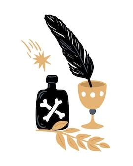 Волшебная иллюстрация колдовские элементы бутылка с ядом чаша вороны перо и растения