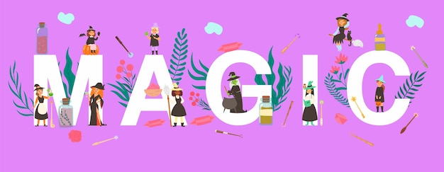 Magic inscription big letters on , huge celebration, joyful magician man, purple tent,    illustration. tiny people, witches women different nationalities, potions in bottles.