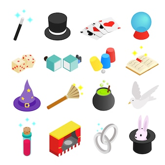 Magic isometric 3d icon isolated on white background