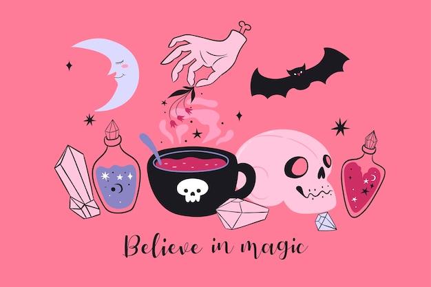 매직 아이템과 비문 believe in magic postcard