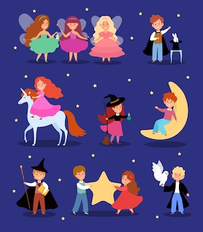 Magic kid in fairytale costume  illustration, cartoon cute magician child character,  fantasy magical children set