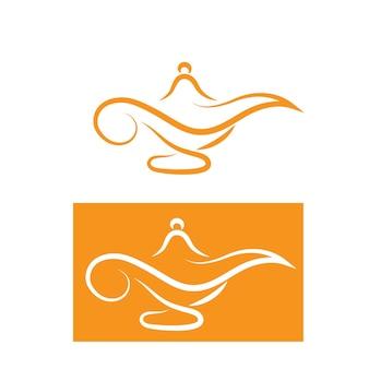 Magic lamp logo and icon vector image