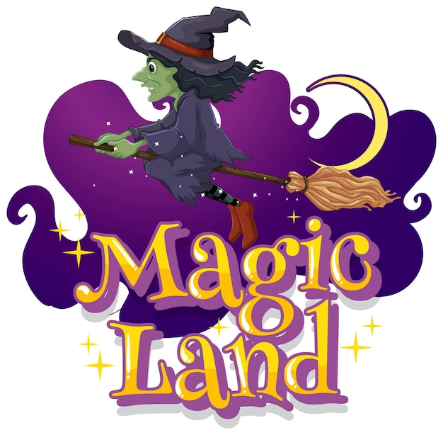 Magic land font with a witch cartoon character