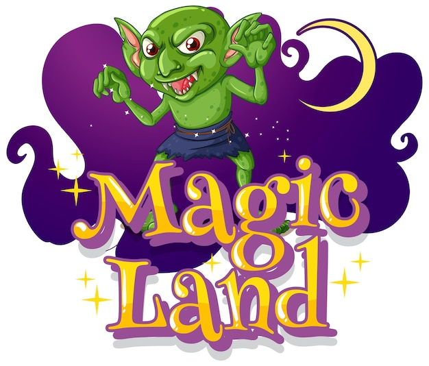 Illustrazione di magic land con un personaggio dei cartoni animati goblin Vettore gratuito
