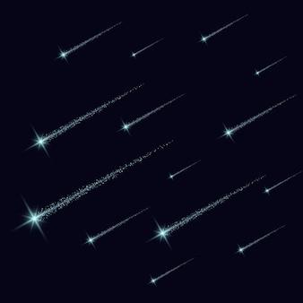 Волшебный световой эффект звезды всплески с блестками, изолированные на прозрачном фоне. легкий след