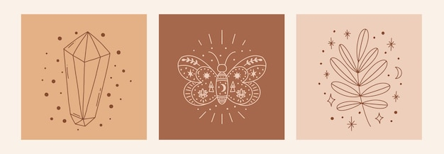 Magic line art poster with diamond leaf butterfly